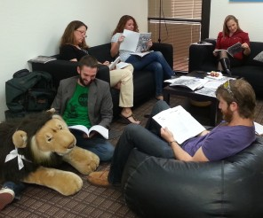 """Judges at the """"American Voices Coffeehouse Read,"""" a volunteer social in January."""